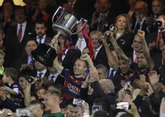 Celebración del Barcelona en directo en el Camp Nou por el Doblete