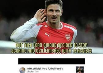 Lío en el Arsenal: a Özil le gusta una foto contra Giroud