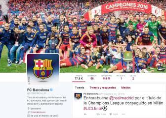 El Barcelona felicita al Real Madrid por la Undécima