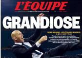 """L' Equipe dedica su portada al éxito de Zidane: """"Grandioso"""""""