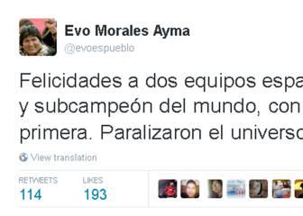 Evo Morales incendia Twitter con su felicitación al Madrid