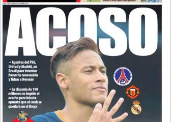 Prensa catalana: Madrid, PSG y United acosan a Neymar