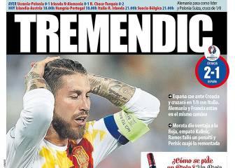La frustración de Sergio Ramos en las portadas de Barcelona