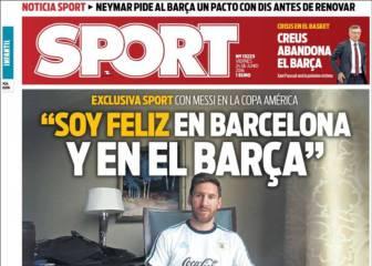 """Prensa catalana: Messi """"feliz en el Barça"""" y más de Gameiro"""