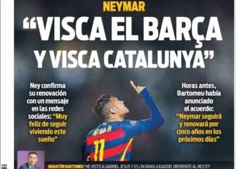 Euforia por Neymar en las portadas de Barcelona