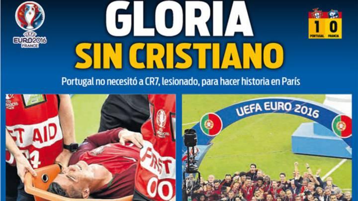 La prensa catalana destaca la gloria de Portugal sin Cristiano