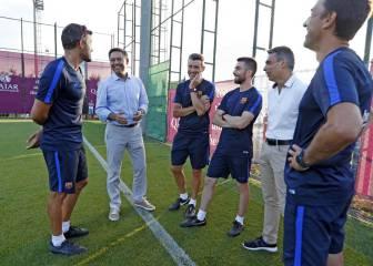 Bartomeu visita a la plantilla y departe con Luis Enrique