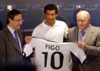 Florentino presenta a Figo, el primer «galáctico» (2000)