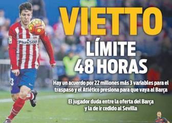 La prensa de Barcelona ya le hace un sitio a Vietto