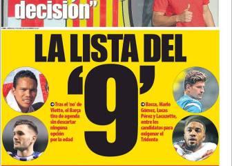 Prensa de Barcelona: día André Gomes y 'ensalada' de nueves