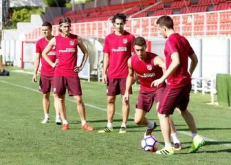 El Atlético realizó una sesión de trabajo dividida en grupos
