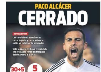 Prensa de Barcelona: Alcácer y Piqué, los nombres del día