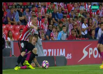 El Athletic pidió penalti de Rakitic a Muniain en el 90'
