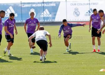 Cristiano y Benzema trabajan por fin con el resto del grupo