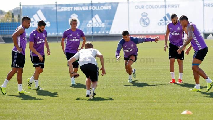 Cristiano y Benzema trabajaron por fin con el resto del grupo