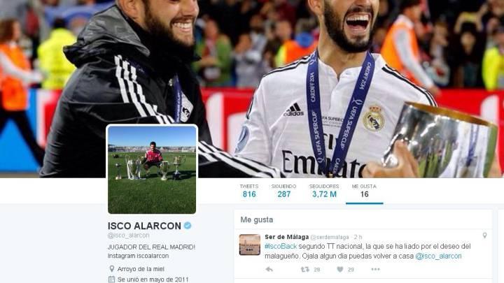 Málaga pide la vuelta de Isco con #IscoBack y a él 'le gusta'