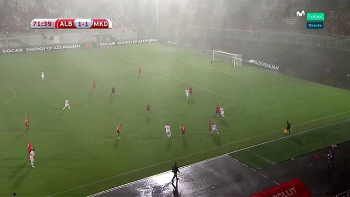 Se aplaza en el minuto 75 el Albania vs Macedonia por la lluvia