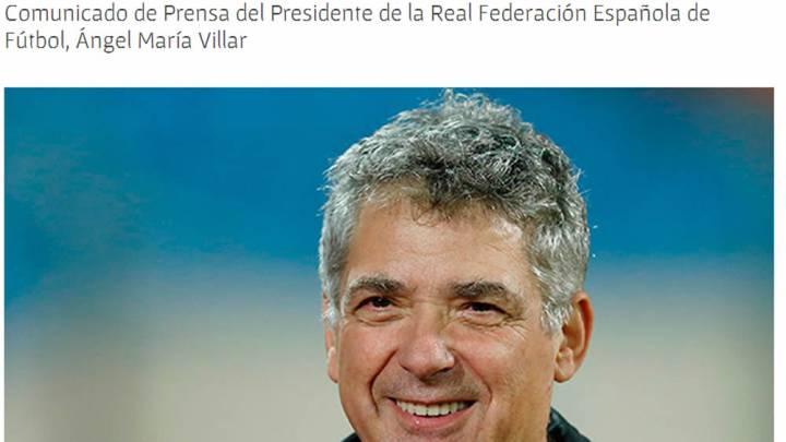 Este es el comunicado de Villar retirando su candidatura
