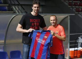 Pau Gasol presenció el entrenamiento del Barça