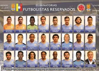 La lista de convocados de Uruguay para los partidos ante Venezuela y Colombia