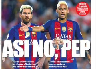 Palo de la prensa catalana a Pep por tocar a Messi y Neymar
