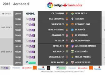 Madrid-Athletic, 23/10 (20:45); Valencia-Barça, 22/10 (16:15)