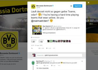 El Dortmund calienta el partido ante el Madrid en Twitter