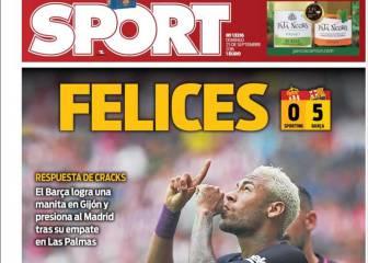La goleada en Gijón, en las portadas de Barcelona