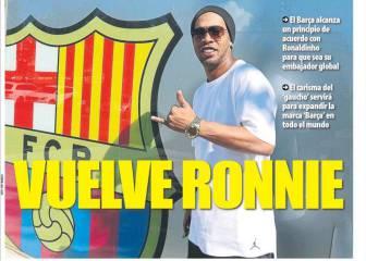 Ronaldinho embajador y más Messi en la prensa de Barcelona