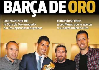 Oro en Barcelona: Bota para Suárez, Balón para Messi
