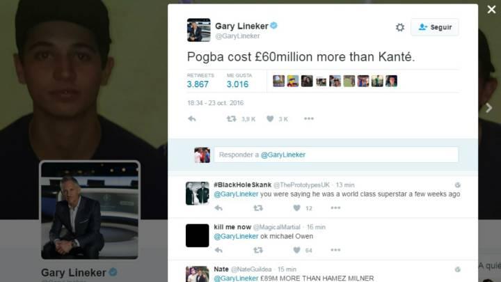 """Lineker: """"Paul Pogba costó 60 millones más que Kanté"""""""