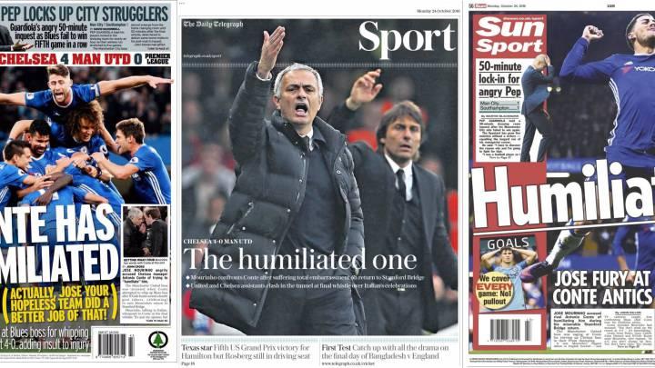 "La prensa inglesa carga contra Mourinho: ""The humiliated one"""