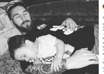 Leo Messi y su hijo caen rendidos y Antonella lo celebra