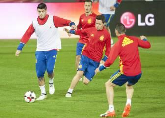 Álvaro Morata pisa el área en la que David Villa pasó a Raúl