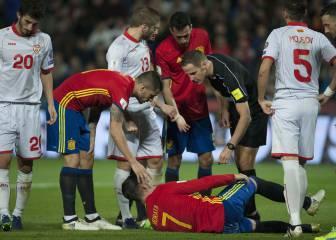 Morata se retiró en el minuto 59 'tocado' en la pierna derecha