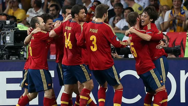 La Selección celebra un gol en grupo ant