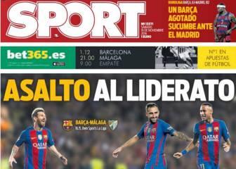 La visita del Málaga y el derbi, en la prensa de Barcelona