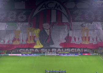 Espectacular tifo a Berlusconi en su último derbi de Milán