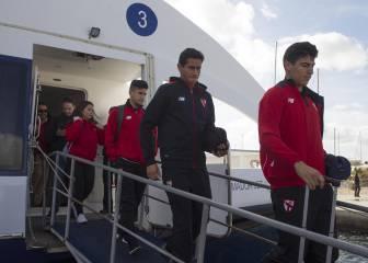 El Sevilla llega en ferry a Formentera