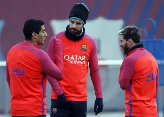 Piqué y Alba se entrenan con el grupo a dos días del Clásico