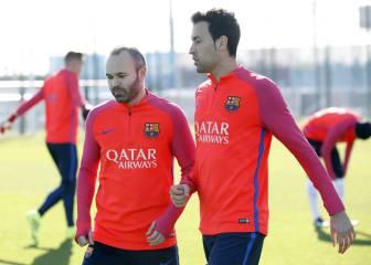 Iniesta, Alba y Piqué trabajan sin problemas antes del Clásico