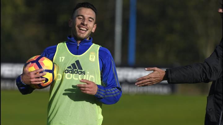 José Fernández en el entrenamiento del Oviedo