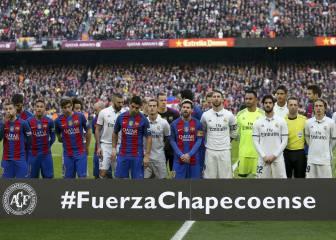 Barça y Madrid homenajearon a las víctimas del Chapecoense