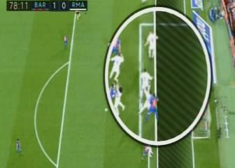 Posición dudosa de Luis Suárez en el gol del Barcelona