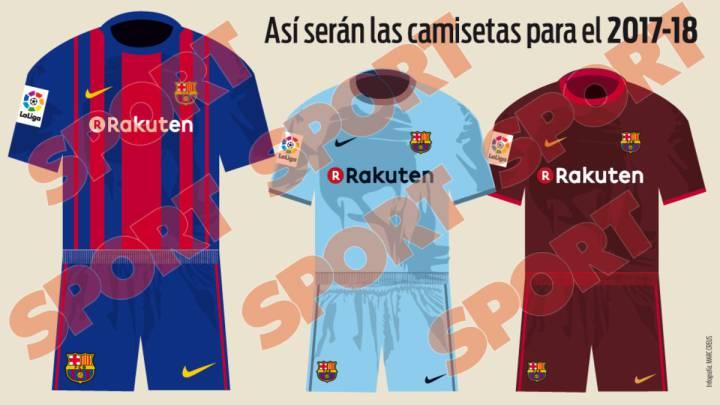 Las equipaciones que lucirá el Barcelona durante la temporada 2017-2018.