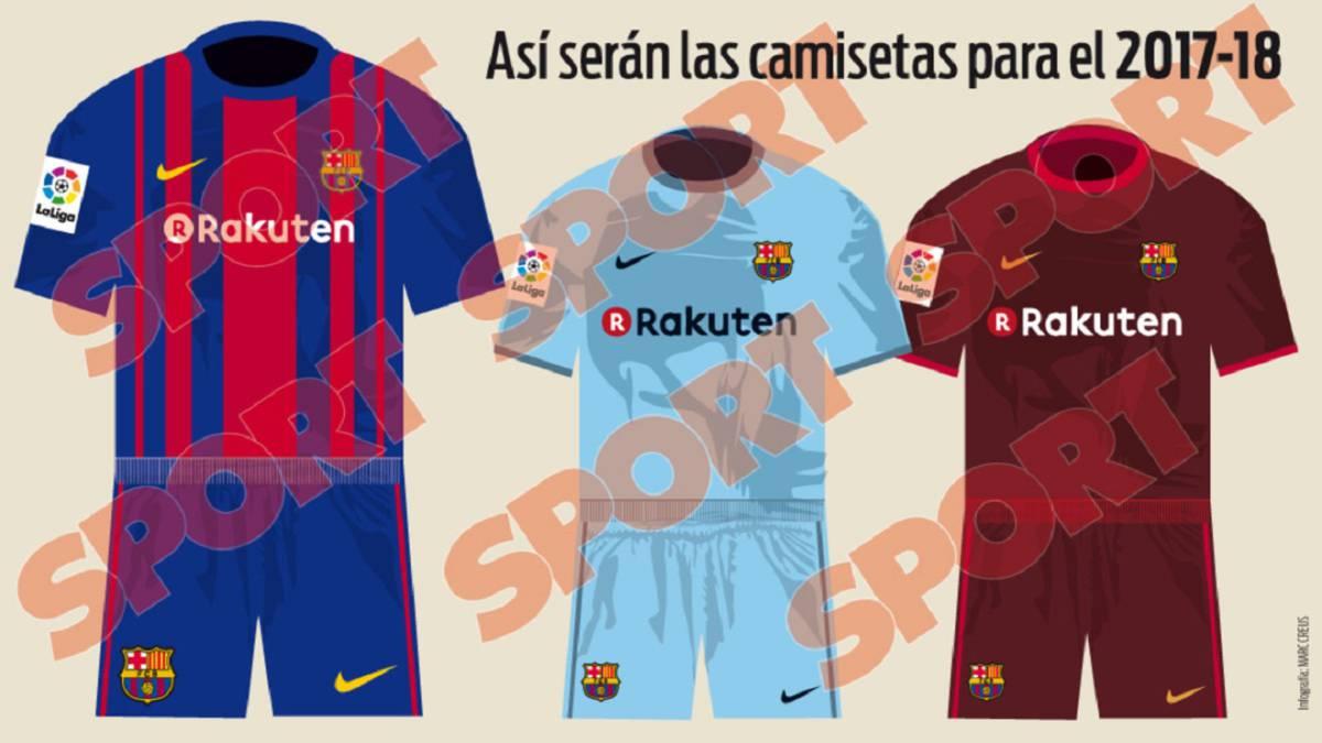 Imagen de las equipaciones del Barça para la temporada 2017 18 según Sport. 6274eb3dd3a
