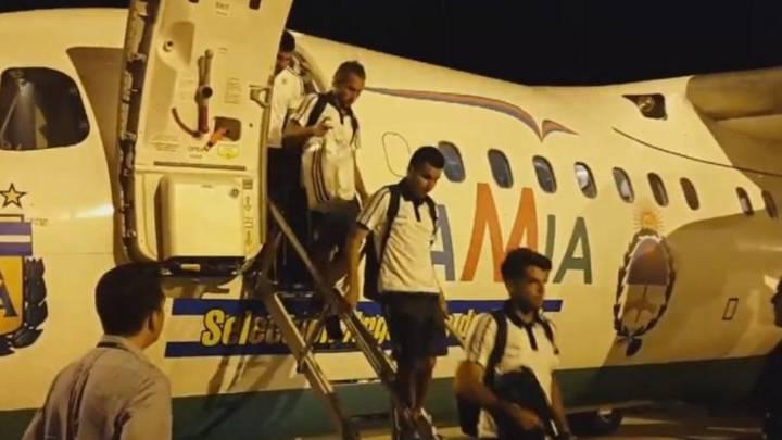 El avión de Lamia que trasladó a la selección argentina desde Belo Horizonte a Buenos Aires.