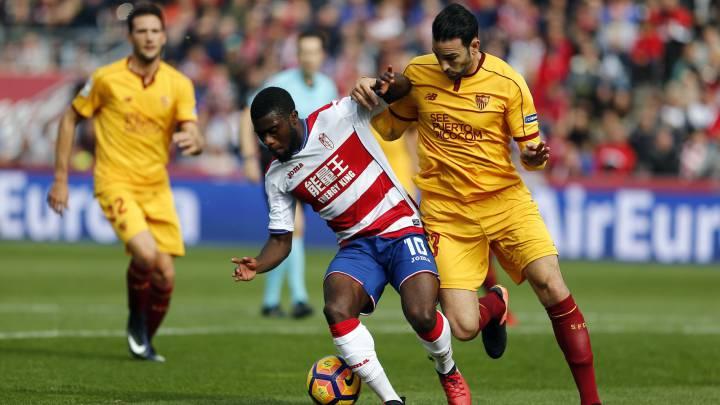 Boga y Rami durante el Granada vs Sevilla