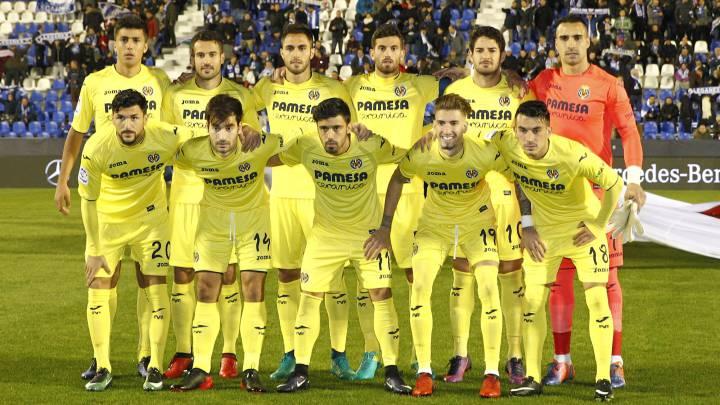El Villarreal posa antes del partido en Leganés.