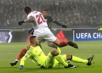 Olympique-Sevilla en imágenes